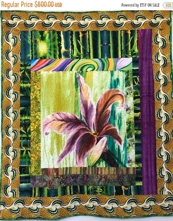 FALL SALE Give Yourself a Peaceful Flower 37x44 inch art quilt