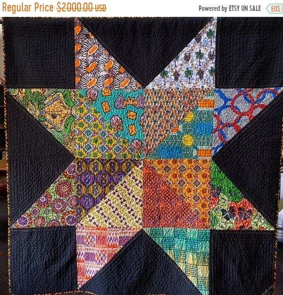 MLK Day Sale Dream Upon Your Authentic Star, 66x66 inch handquilted art quilt