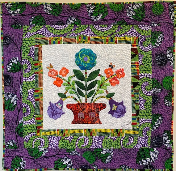 Begin Again, 30x30 inch hand quilted art quilt