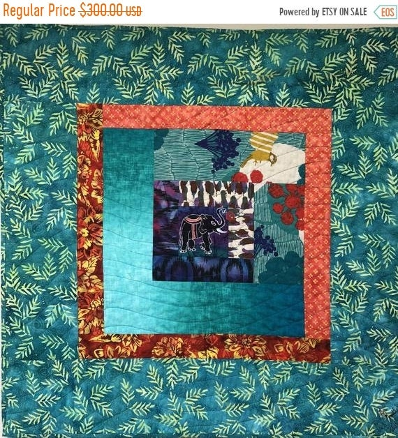 HOLIDAY SALE Kissed by an Elephant #3 32x32 inch art quilt