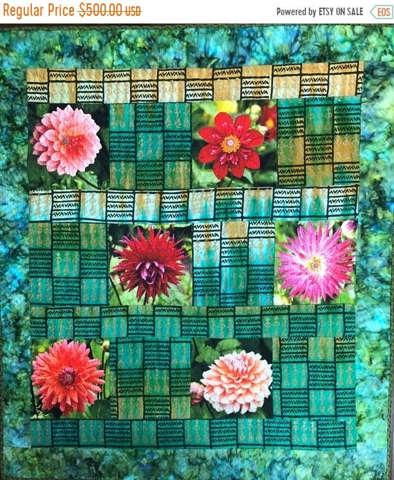Holiday Sale Morning Meditation with My Flowers, 40x45 inch art quilt
