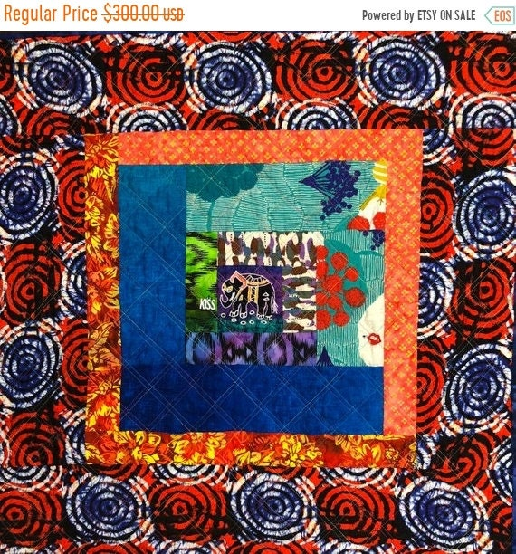ON SALE Kissed By An Elephant #4 31x31 inch art quilt