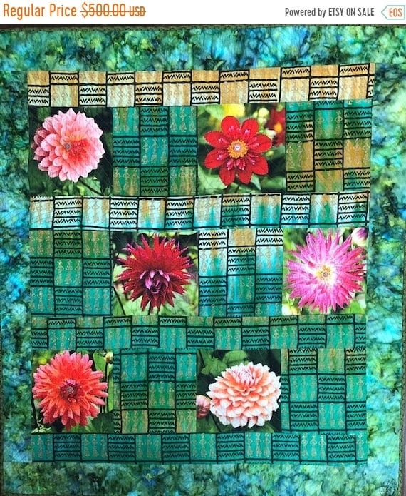 Fall sale Morning Meditation with My Flowers, 40x45 inch art quilt