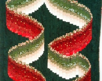 Fall sale Christmas Ribbons art quilt wallhanging