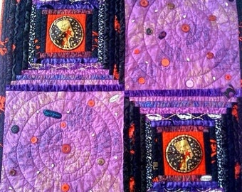 Hello Summer Sale Wicked Woman, 36 x 36 inch wallhanging quilt, 2009.