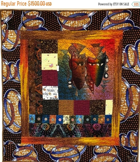 Black History Sale A Night on Broadway 37x40 inch embellished art quilt