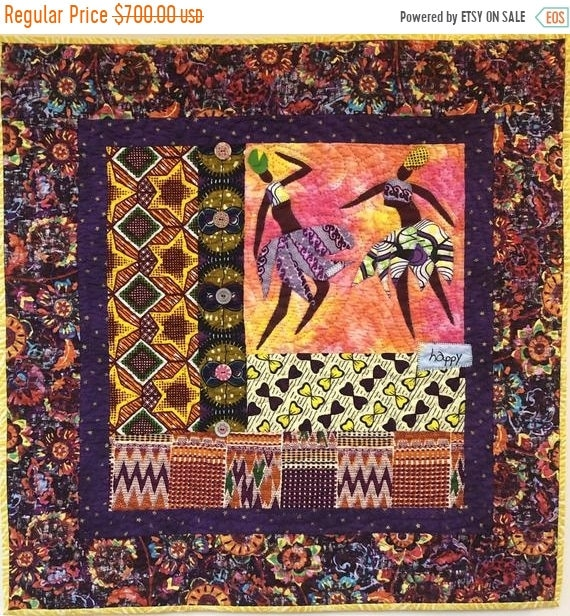 Black History Sale Be Happy! 28x28 inch hand quilted art quilt