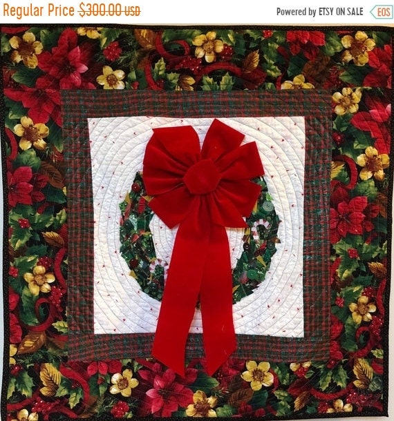 Black History Sale Welcome Wreath 29x29 inch quilted and embellished Christmas wreath