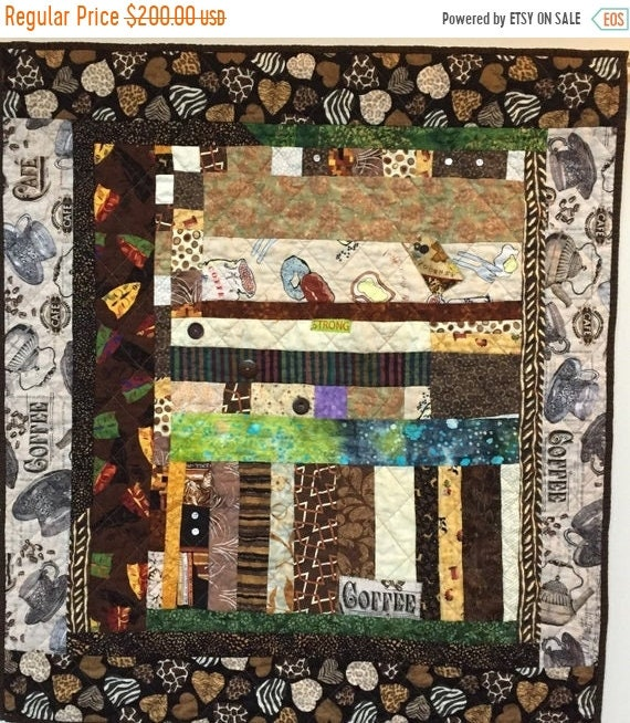FALL SALE After My Coffee small quilted wallhanging