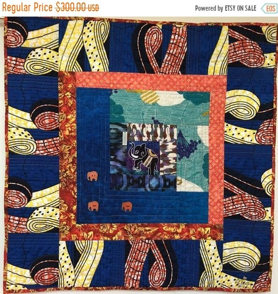 FALL SALE Kissed By an Elephant #2 32x32 inch art quilt