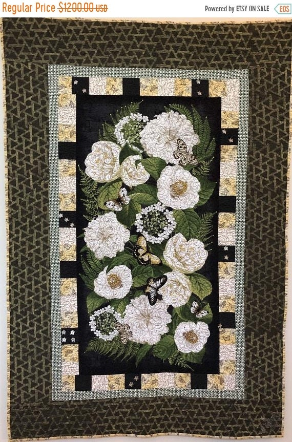 FALL SALE Give Yourself Flowers On Palm Sunday, 35 x52 inch embellished art quilt