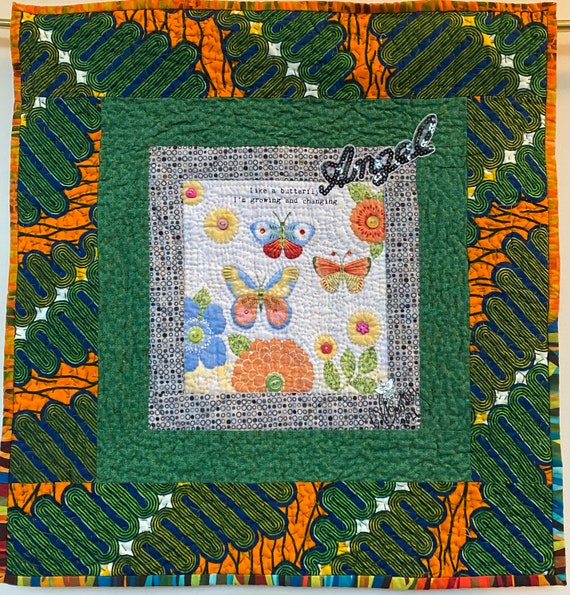 Whispers From My Angels #3 hand quilted art quilt