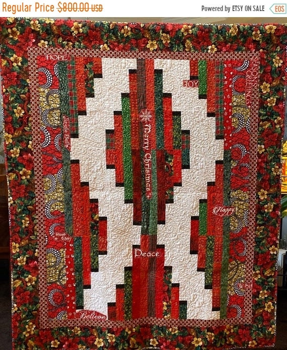 MLK Day Sale Ancestral Christmas Gathering, 64x76 inch Christmas lap quilt
