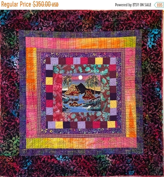 MLK Day Sale Reflection at Day's End, a 42x42 inch quilted wallhanging