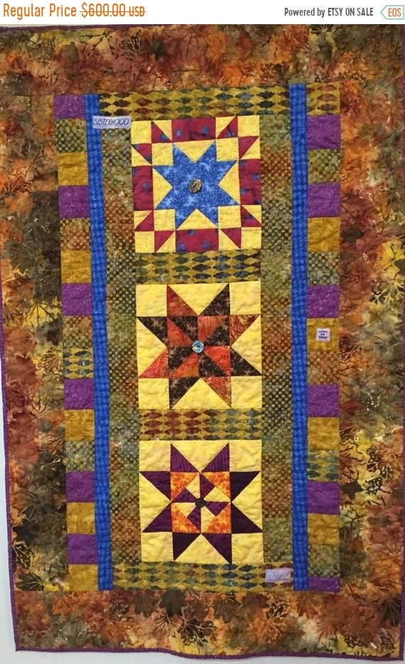 Holiday Sale Three Sisters hand quilted art quilt