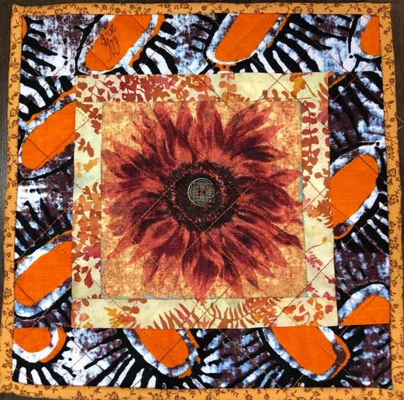 Sassy Sunflowers in My Library #3 10x10 inch mini art quilt
