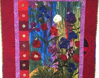 Fall sale Give Yourself a Thoughtful Flower 39x47 inch art quilt