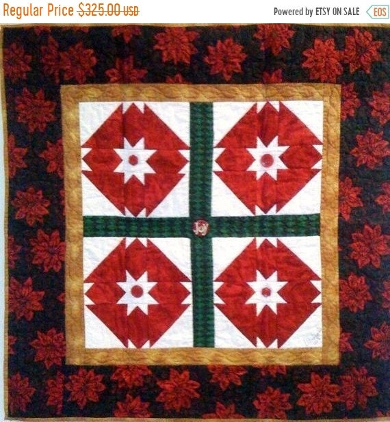 FALL SALE Stars Over My Christmas Garden, 35 x 35 inch art quilt
