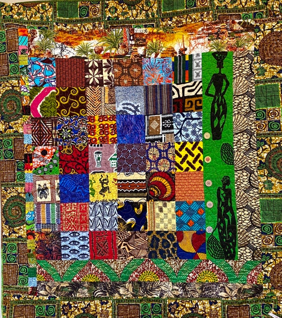 The Beauty of Africa, 43 x48 inch quilted wallhanging