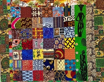 Fall sale The Beauty of Africa, 43 x48 inch quilted wallhanging