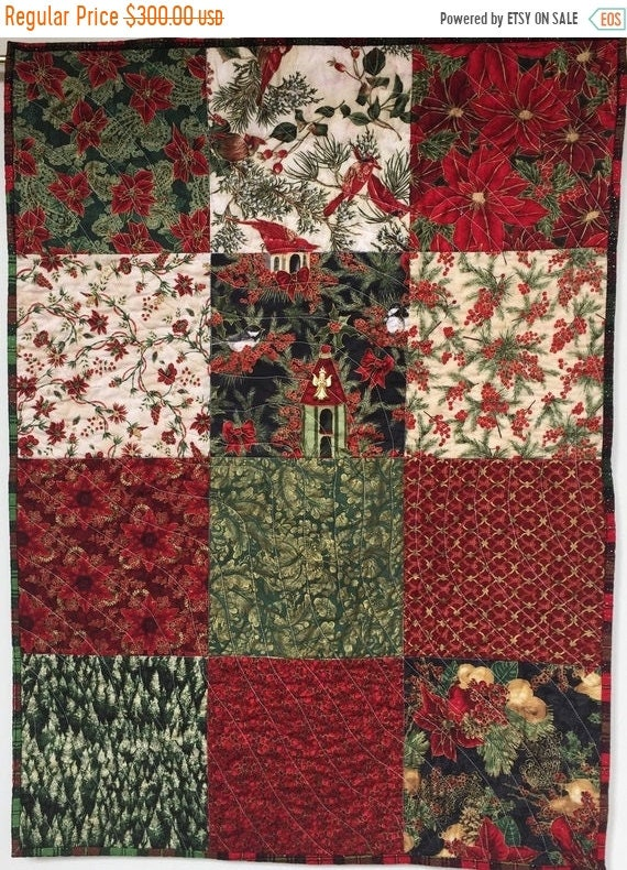FALL SALE Watch Night 26x36 inch quilted Christmas Wallhanging
