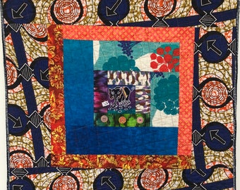 Kissed By an Elephant #6 31x31 inch art quilt