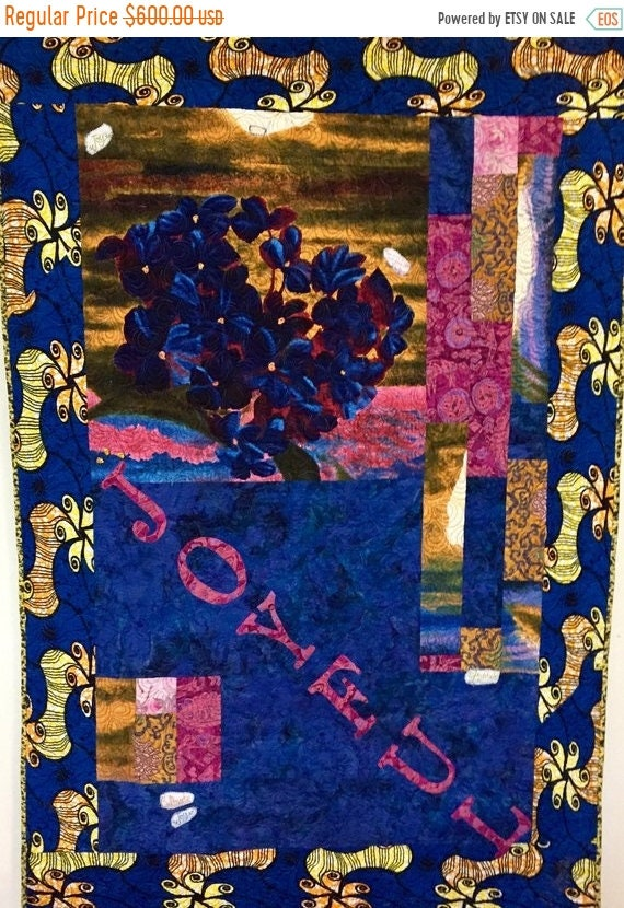 Almost Fall Sale Be Joyful 40x60 inch art quilt