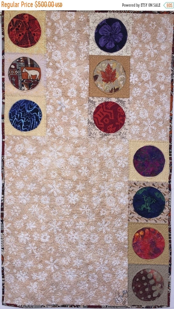 FALL SALE Ancestral Circles 22x38 inch modern quilted wallhanging