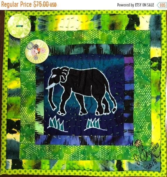 Holiday Sale Strong Elephants in My Library #3 -- a 10 inch art quilt