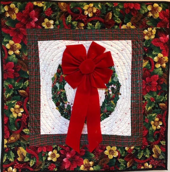 Welcome Wreath 29x29 inch quilted and embellished Christmas wreath