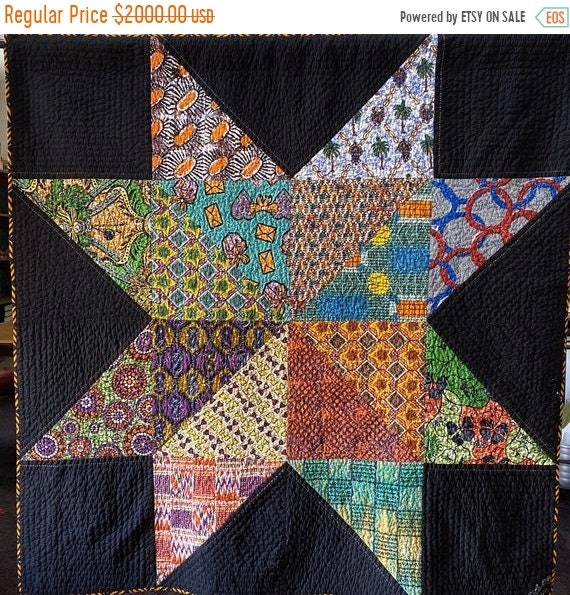 Black History Sale Dream Upon Your Authentic Star, 66x66 inch handquilted art quilt