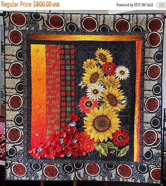 On Sale Give Yourself Southern Christmas Flowers, 49x52 inch art quilt