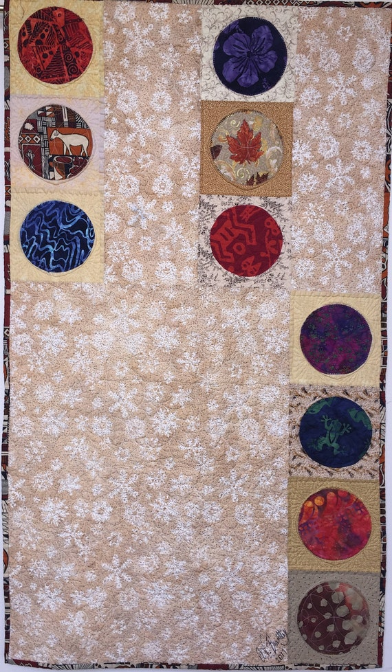 Ancestral Circles 22x38 inch modern quilted wallhanging