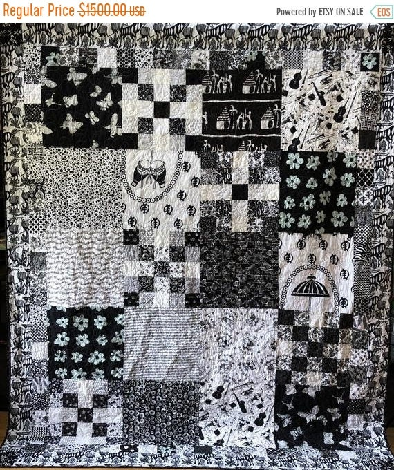 HOLIDAY SALE Friendship in Black and White, 70x88 inch heirloom black and white quilt