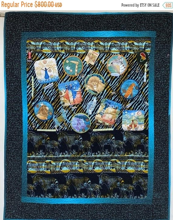 HOLIDAY SALE Living My Best Life on the Wild Side. 37x47 inch hand quilted art quilt