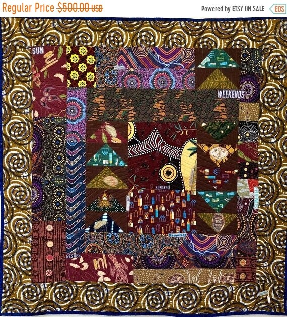 FALL SALE See the World With Me, 34x35 inch art quilt