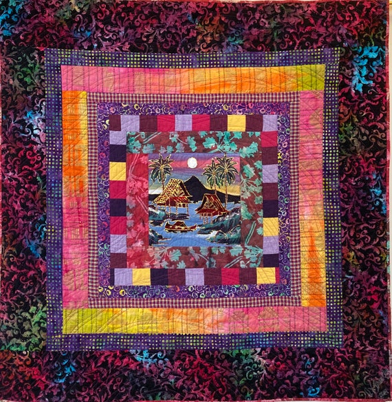 Reflection at Day's End, a 42x42 inch quilted wallhanging