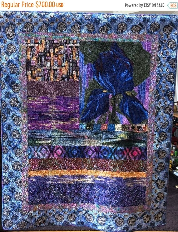 Black History Sale Give Yourself A Blue Bouquet, 44x56 inch art quilt