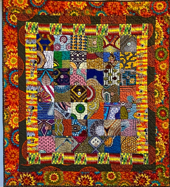 The Joys of Africa, 40x44 inch hand quilted art quilt