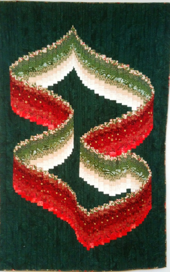 Christmas Ribbons art quilt wallhanging