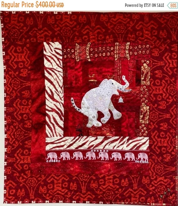 Juneteenth sale Racism — the White Elephant in the Room 26x28 inch art quilt
