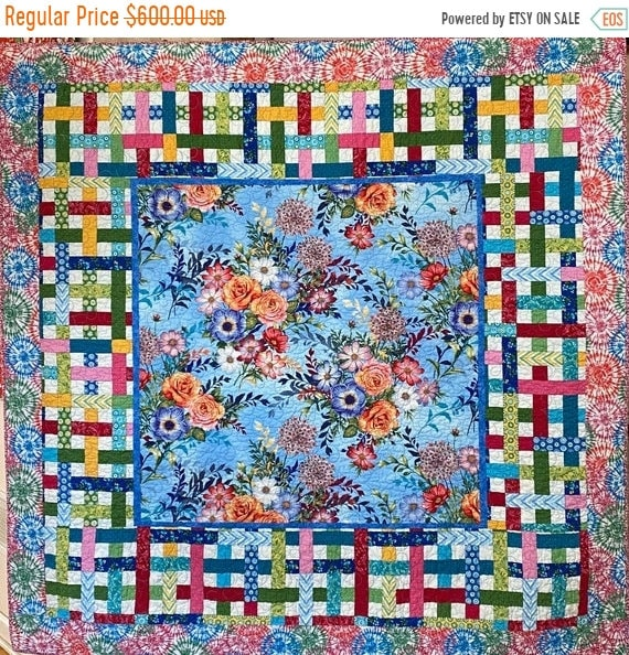 ON SALE Give Yourself Flowers on a Perfect Day, 65x65 inch floral art quilt
