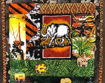 Hello Summer Sale African Village in My Library #1 mini art quilt