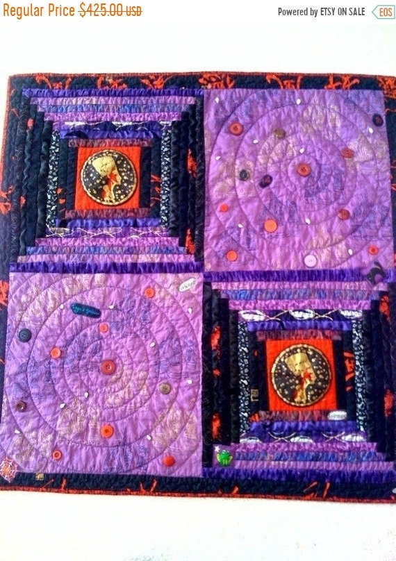Fall sale Wicked Woman, 36 x 36 inch wallhanging quilt, 2009.