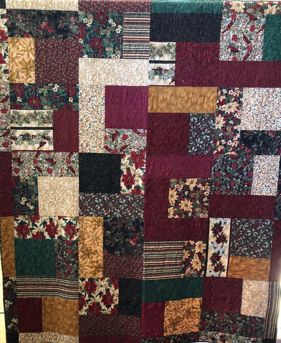 Christmas Bling 70 x 86 inch Christmas lap quilt