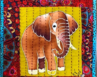 Hello Summer Sale Strong Elephants in Library #2 mini quilt