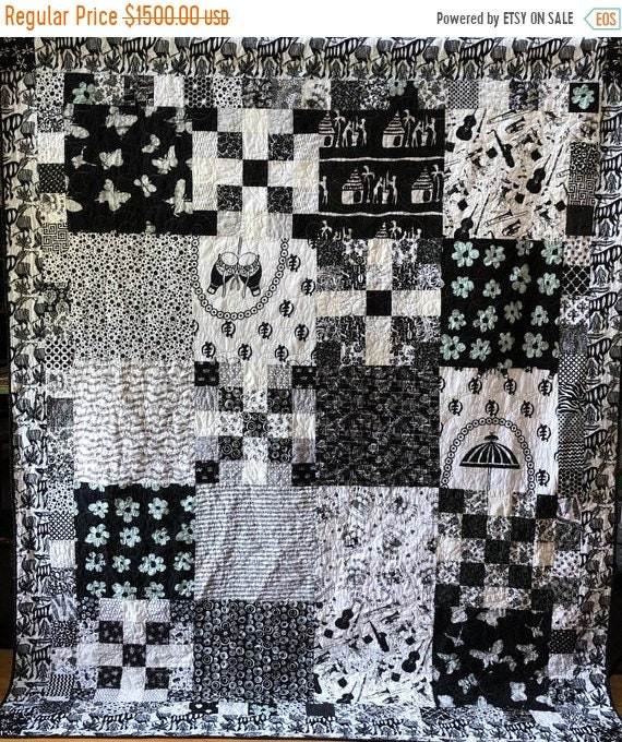 On Sale Friendship in Black and White, 70x88 inch heirloom black and white quilt