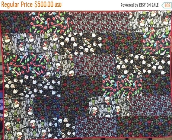 ON SALE Atlanta Snow Day 54x72 inch holiday lap quilt