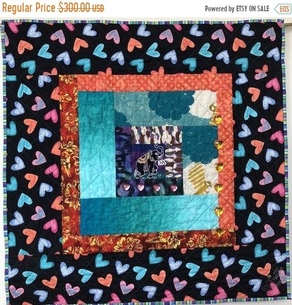 FALL SALE Kissed By an Elephant #7 31x31 inch art quilt