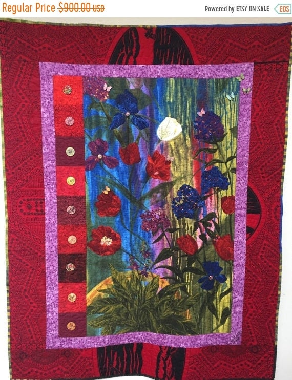 Hotlanta sale Give Yourself a Thoughtful Flower 39x47 inch art quilt